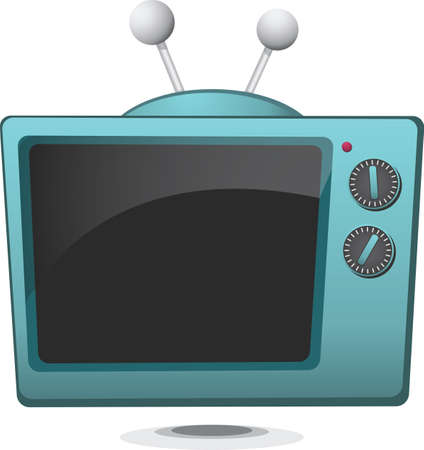 A retro-styled television with simple turning dials. Illustration