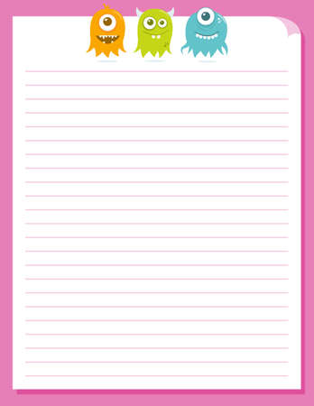 Some cute floating aliens hovering at the top of a piece of colorful stationery.