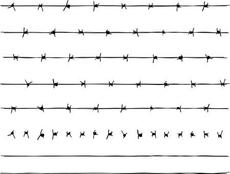 A couple different sections of barbed wire fencing, as well as individual barbs and wires so you can create as many more lengths of wire fence as you wish. The sections provided are also only grouped, so you can ungroup and edit them easily.