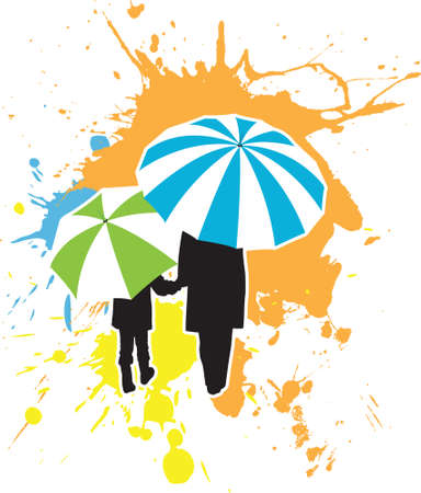 An adult and a child holding hands as they stroll under some colorful umbrellas. Broken out into layers for easy editing.