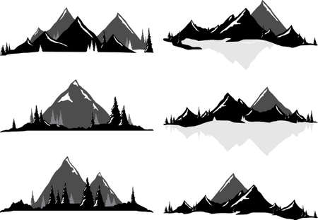 snowcapped mountain: Various vector illustrations of mountains and hills with trees and water. All objects can be ungrouped and easily moved around. If you want to move or copy an element it is very easy to do so. All colors also easily changeable via global swatches, so adap