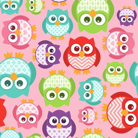 Some cute patterned-belly owls in a seamless pattern that repeats.