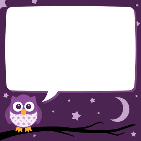 A cute little owl sitting on a tree branch with a speech bubble to contain some text at night time with the moon and stars in the background. The file is layered and easy to edit.