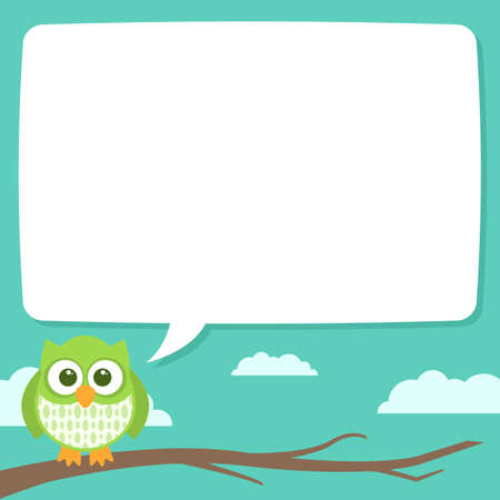 A cute little owl sitting on a tree branch with a speech bubble to contain some text. The file is layered and easy to edit. Stock Illustratie