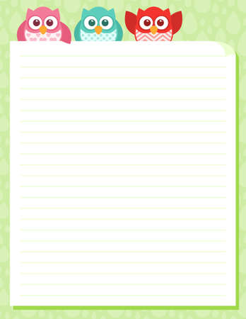 Some cute little owls at the top of a piece of stationery. Easy to edit layered file. Stock Illustratie