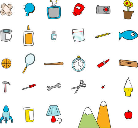 Childlike doodles of everyday objects in a simple cartoon style.
