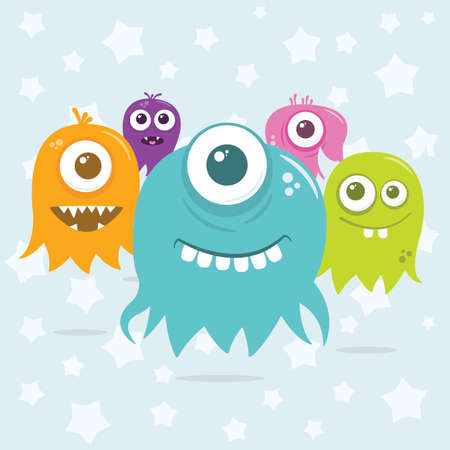 najechać: Some cute happy, floating, cartoon, vector aliens floating around, ready to invade. The file is easily editable, with everything on separate layers. It also contains global color swatches for quick recoloring of the art to your preference.