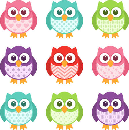 Cute little patterned owls with modern patterns on their bellies. All of the colors are easily editable, and the objects are simple to ungroup and edit. Stock Illustratie