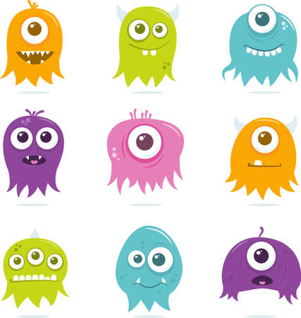 preference: A collection of nine happy, floating, cartoon, vector aliens. These cute little guys can be used for a variety of projects. The file is easily editable, and contains global color watches for quick recoloring of the art to your preference.