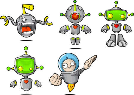 5 Cartoon Robots, separated out by layers for the color, shading, and line work. You can change them around easily.