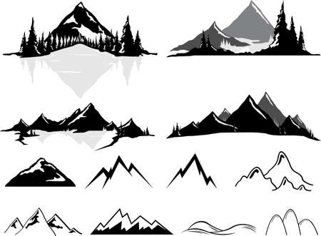 Various vector illustrations of mountains and hills, some realistic, some stylized. All objects can be ungrouped and easily moved around. If you want to move or copy an element it is very easy to do so. All colors also easily changeable via global swatche