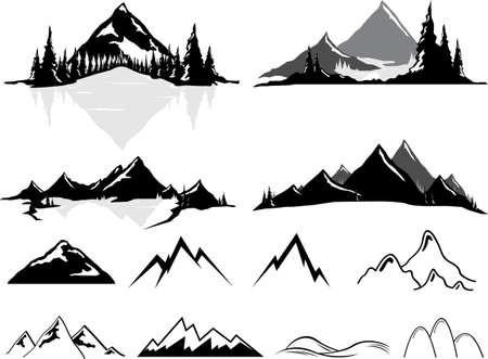 Diverse vector illustraties van bergen en heuvels, een aantal realistische, wat gestileerd. Alle objecten kunnen ongegroepeerde en gemakkelijk verplaatst worden. Als u wilt een element verplaatsen of kopiëren is het zeer eenvoudig om dat te doen. Alle kleuren ook gemakkelijk veranderlijk via wereldwijde swatche Stock Illustratie