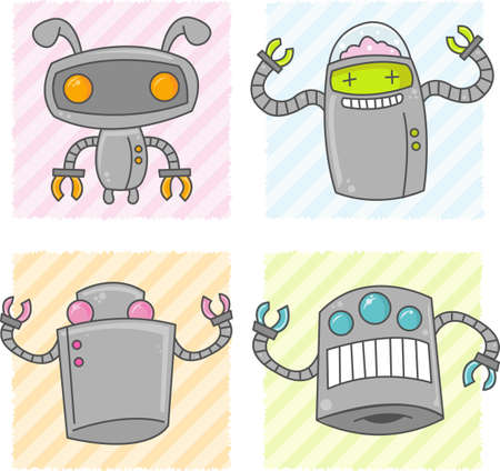 Some happy cute vector robots with claw arms.