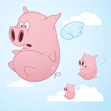 flying pig: A series of flying pigs going across the open sky. Illustration