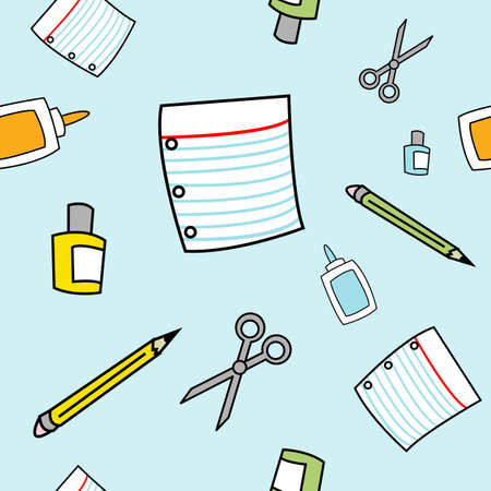 A seamless pattern of various school supplies drawn in a childlike style.