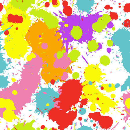 A seamless pattern of colorful ink splatters spraying in all directions. Stock Illustratie