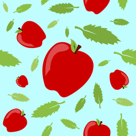 A seamless pattern built from apples and leaves with a bright springtime vibe. Illusztráció