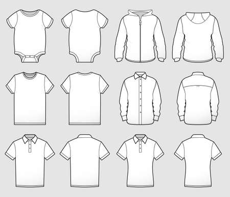 A collection of shirt tops shown front and back for mocking up designs or representing sizes and styles. Illustration