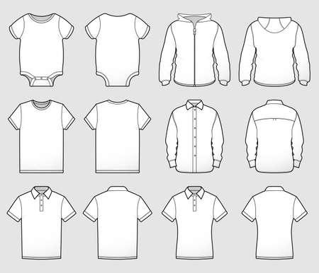 Uma coleção de blusas de camisa mostradas na frente e atrás para zombar de designs ou representar tamanhos e estilos.