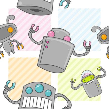 A seamless pattern of cute cartoon robots with colorful backgrounds. Illusztráció
