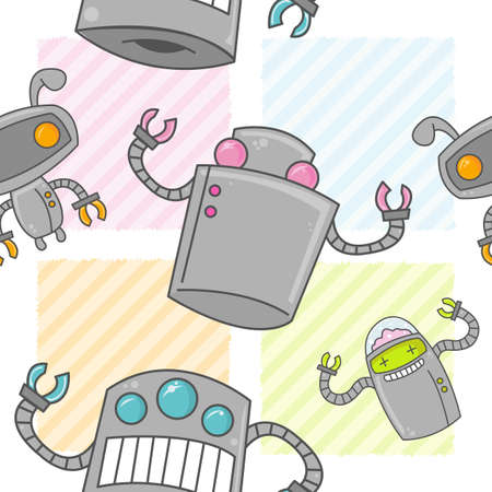 A seamless pattern of cute cartoon robots with colorful backgrounds. Stock Illustratie