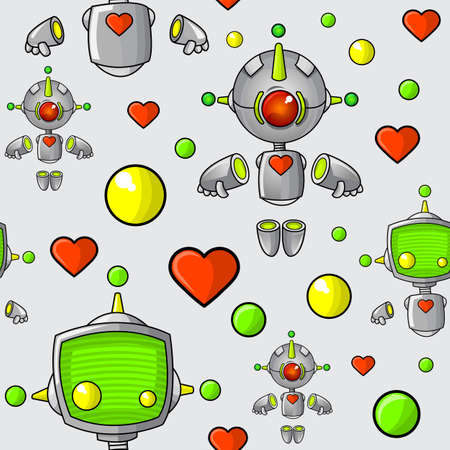 A seamless pattern of cute cartoon robots with hearts and spheres.
