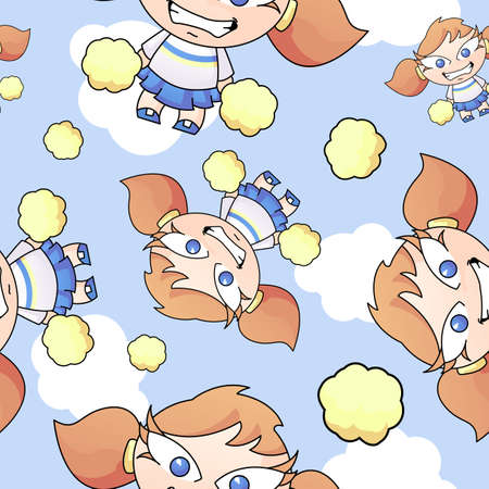 A seamless pattern with a cute cheerleader and pom poms flying through the sky with clouds.