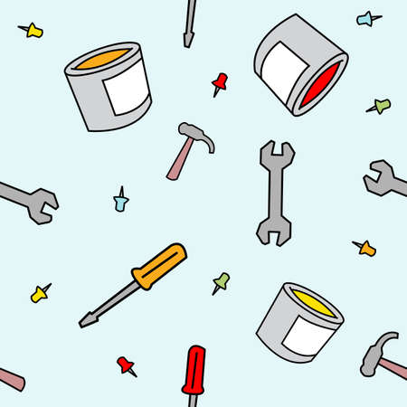 tack: A seamless pattern of various work supplies drawn in a childlike style.