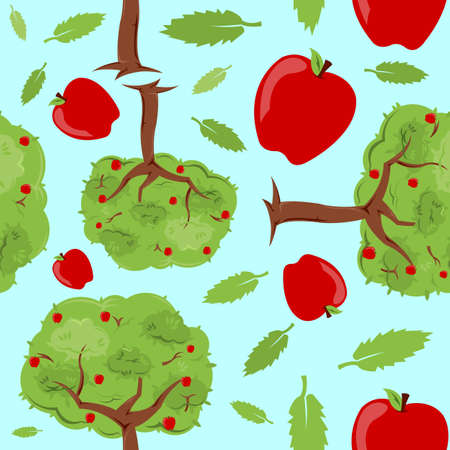 A seamless pattern built from apple trees, apples, and leaves. Illustration