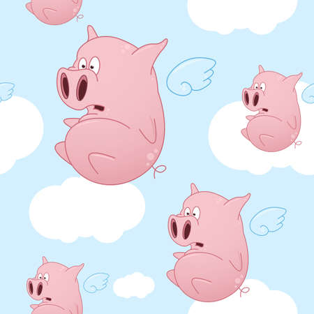 A seamless pattern of cartoon pigs flying through the sky with clouds.