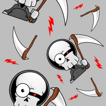 A seamless pattern of a creepy grim reaper with scythes and lightning bolts.