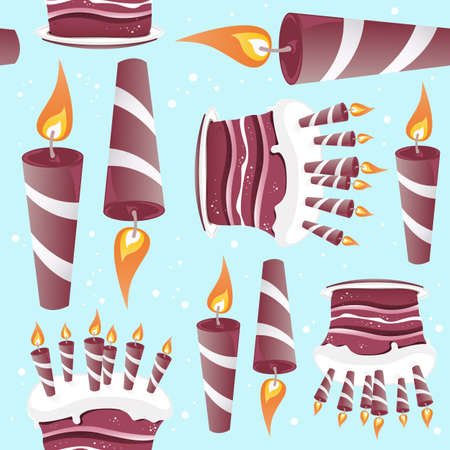 A seamless pattern built from cakes and candles for events and celebrations.