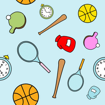 childlike: A seamless pattern of various sports equipment drawn in a childlike style.