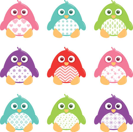 A collection of nine happy, fat, cartoon, vector penguins. These cute little guys can be used for a variety of projects. The file is easily editable, and contains global color watches for quick recoloring of the art to your preference.