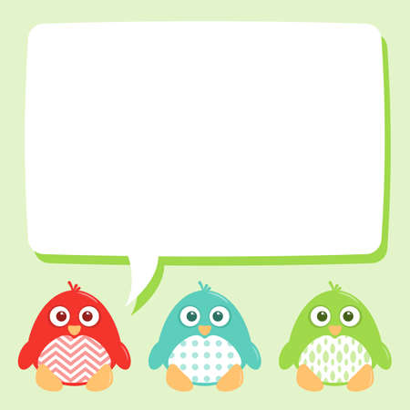 Some cute penguins with a speech bubble for any text.