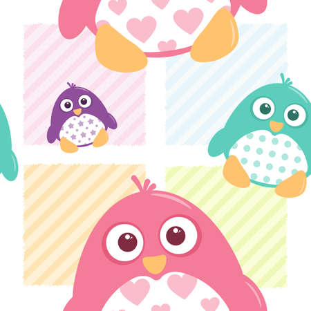 A seamless tile of fat, cartoon, vector penguins. These cute little guys can be used for a variety of projects.