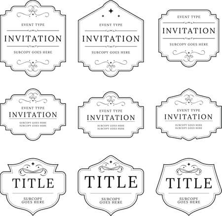 A collection of ornate badges and vintage frames found frequently on invitations and designs.
