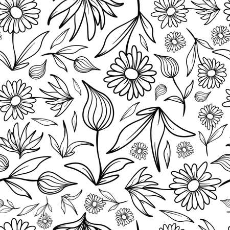 A seamless tiling pattern of line art flowers and leaves.
