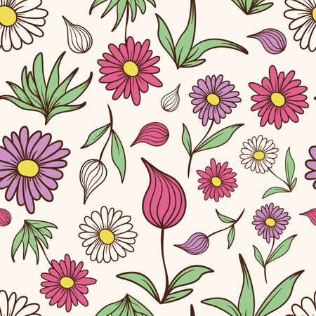 A seamless tiling pattern of colored flowers and leaves.