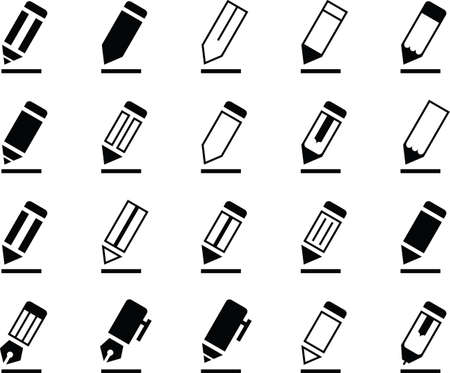 A collection of various stylized pencil and pen icons.