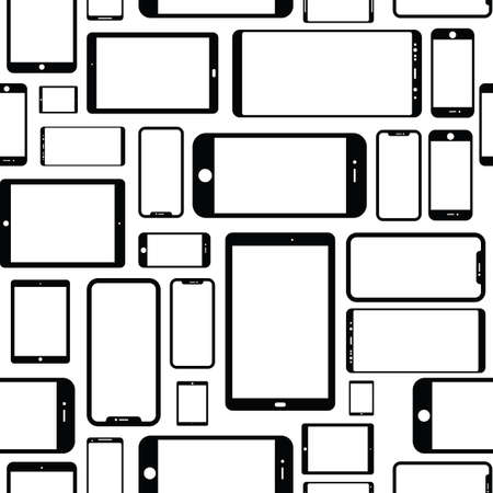 A seamless tiling pattern of various modern electronic devices.