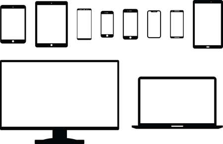 A collection of modern electronic devices, all to-scale from each other.