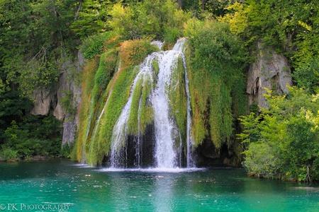 cascade: Spring Lakes in Plitvicka Jezera National Park in Croatia