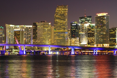 Miami beach night skyline