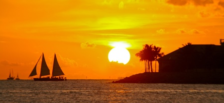clave sol: Puesta de sol en los Cayos de Florida Foto de archivo