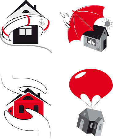 reliable: reliable insurance of houses and premises Illustration