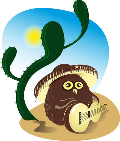 owl playing guitar about cactus Vector