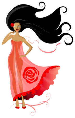 transparent dress: Beautiful brunette with a rose in her hair and a pink transparent dress Illustration