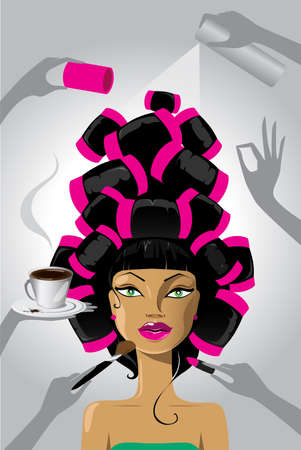 rulos: Mujer con rulos en el pelo en el sal�n de la capa de maquillaje Vectores