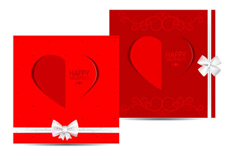 st valentines day: Two red cards with hearts and white bows dedicated to St. Valentines day Illustration
